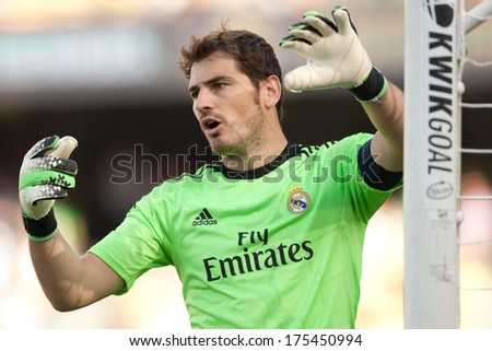 LOS ANGELES - AUGUST 3: Real Madrid GK Iker Casillas during the 2013 Guinness International Champions Cup game between Everton and Real Madrid on Aug 3, 2013 at Dodger Stadium.