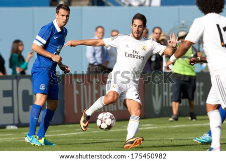 LOS ANGELES - AUGUST 3: Real Madrid M Isco during the 2013 Guinness International Champions Cup game between Everton and Real Madrid on Aug 3, 2013 at Dodger Stadium.