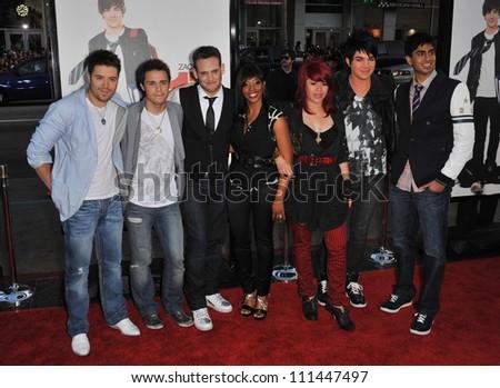 "LOS ANGELES, CA - APRIL 14, 2009: American Idol stars Danny Gokey, Kris Allen, Matt Giraud, Lil Rounds, Allison Iraheta, Adam Lambert & Anoop Desai  at the premiere of ""17 Again"" at Chinese Theatre."