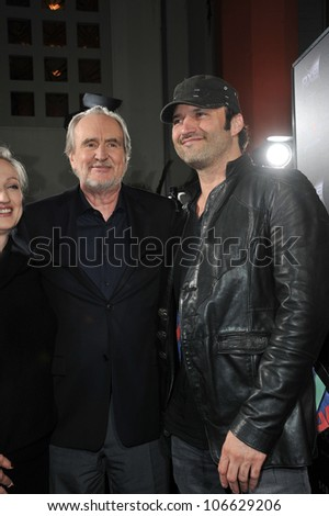 "LOS ANGELES, CA - APRIL 11, 2011: Director Wes Craven (left); Robert Rodriguez at the world premiere of ""Scream 4"" at Grauman's Chinese Theatre, Hollywood, April 11, 2011  Los Angeles, CA"
