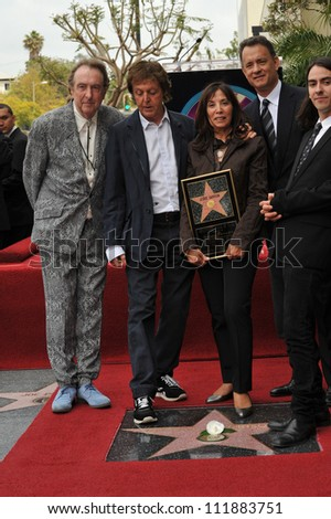 LOS ANGELES, CA - APRIL 14, 2009: Eric Idle, Paul McCartney, Olivia Harrison, Dhani Harrison & Tom Hanks at Hollywood Walk of Fame star ceremony honoring the late George Harrison.