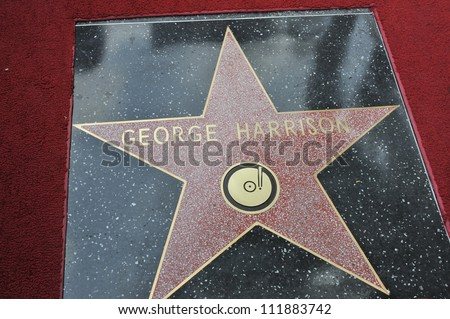 LOS ANGELES, CA - APRIL 14, 2009: George Harrison's star at Hollywood Walk of Fame star ceremony honoring the late George Harrison.