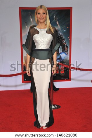 """LOS ANGELES, CA - APRIL 24, 2013: Gwyneth Paltrow at the Los Angeles premiere of her movie """"Iron Man 3"""" at the El Capitan Theatre, Hollywood."""