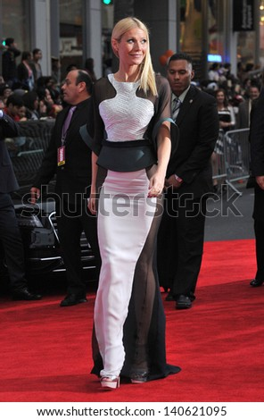 "LOS ANGELES, CA - APRIL 24, 2013: Gwyneth Paltrow at the Los Angeles premiere of her movie ""Iron Man 3"" at the El Capitan Theatre, Hollywood."