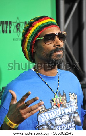 LOS ANGELES, CA - APRIL 17, 2012: Snoop Dogg at the Los Angeles premiere of Marley at the Cinerama Dome, Hollywood. April 17, 2012  Los Angeles, CA