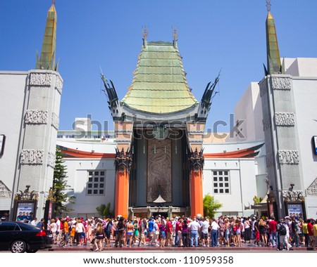 LOS ANGELES, CA - AUG 11:  Historic Grauman's Chinese Theater in Los Angeles, CA on Aug. 11, 2012.  Opened in 1922 this Hollywood landmark is on the Hollywood Walk of Fame and attracts many visitors.