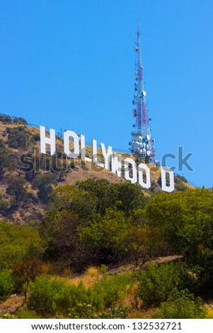 LOS ANGELES, CA - AUG 10:  Landmark Hollywood sign in the Hollywood hills seen on Aug 10, 2012. Erected in 1923 this iconic sign measures 450 feet long, with letters that are 45 feet high.