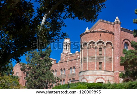 LOS ANGELES, CA - AUG 21:Romanesque architecture of Royce Hall on the campus of UCLA. Royce Hall is one of four original buildings on UCLA's Westwood campus. LOS ANGELES, CA, AUG 21,2010