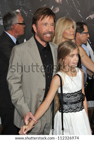 """LOS ANGELES, CA - AUGUST 16, 2012: Chuck Norris at the Los Angeles premiere of his movie """"The Expendables 2"""" at Grauman's Chinese Theatre, Hollywood."""