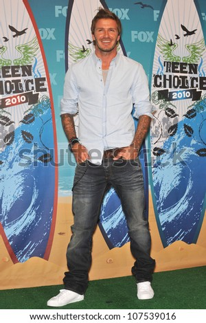 LOS ANGELES, CA - AUGUST 8, 2010: David Beckham - winner of the Choice Athlete, Male, award - at the 2010 Teen Choice Awards at the Gibson Amphitheatre.