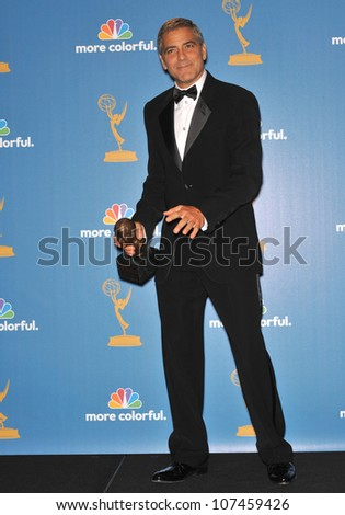 LOS ANGELES, CA - AUGUST 29, 2010: George Clooney at the 2010 Primetime Emmy Awards at the Nokia Theatre L.A. Live in downtown Los Angeles.