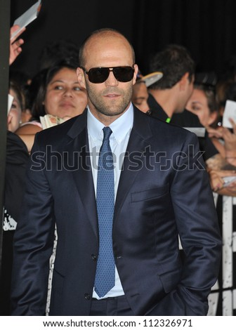 """LOS ANGELES, CA - AUGUST 16, 2012: Jason Statham at the Los Angeles premiere of his movie """"The Expendables 2"""" at Grauman's Chinese Theatre, Hollywood."""