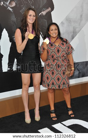 LOS ANGELES, CA - AUGUST 16, 2012: Olympic gold-medalists Jessica Steffens (left) & Brenda Villa at the Los Angeles premiere of \