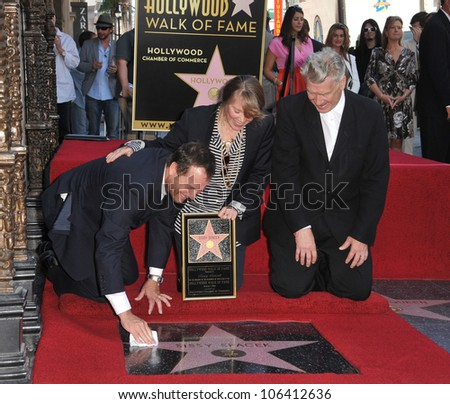 LOS ANGELES, CA - AUGUST 1, 2011: Sissy Spacek with actor Bill Paxton (left) & director David Lynch at Spacek's Hollywood Walk of Fame star ceremony. August 1, 2011  Los Angeles, CA