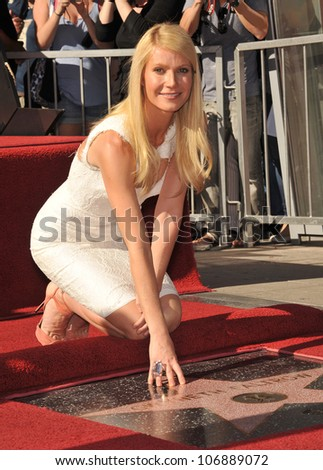 LOS ANGELES, CA - DECEMBER 13, 2010: Actress Gwyneth Paltrow on Hollywood Boulevard where she was honored with the 2,427th star on the Hollywood Walk of Fame.  December 13, 2010  Los Angeles, CA