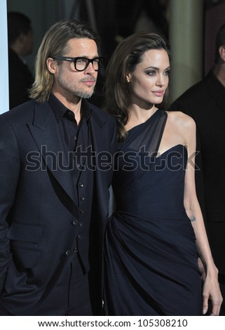 "LOS ANGELES, CA - DECEMBER 8, 2011: Brad Pitt & Angelina Jolie at the premiere of ""In The Land of Blood and Honey"" at the ArcLight Theatre, Hollywood. December 8, 2011  Los Angeles, CA"