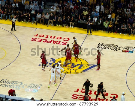 LOS ANGELES, CA. -  DECEMBER 25: Christmas Day National Basketball Association Game L.A. Lakers versus the Miami Heat at Staples Center. on December 25, 2010 in Los Angeles.