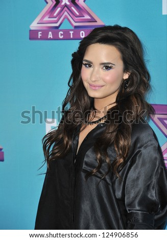 "LOS ANGELES, CA - DECEMBER 17, 2012: Demi Lovato at the press conference for the season finale of Fox's ""The X Factor"" at CBS Televison City, Los Angeles."