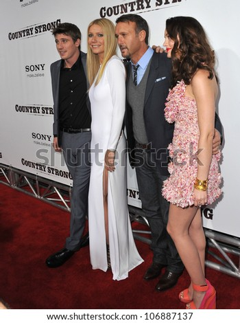 """LOS ANGELES, CA - DECEMBER 14, 2010: Garrett Hedlund, Gwyneth Paltrow, Tim McGraw & Leighton Meester at the premiere of """"Country Strong"""" at the Academy of Motion Picture Arts & Sciences Theatre."""