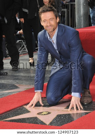 LOS ANGELES, CA - DECEMBER 13, 2012: Hugh Jackman is honored with the 2,487th star on the Hollywood Walk of Fame.