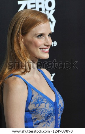 "LOS ANGELES, CA - DECEMBER 10, 2012: Jessica Chastain at the premiere of her movie ""Zero Dark Thirty"" at the Dolby Theatre, Hollywood."