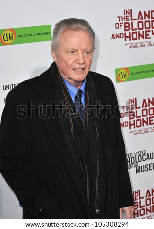 "LOS ANGELES, CA - DECEMBER 8, 2011: Jon Voight (father of Angelina Jolie) at the premiere of ""In The Land of Blood and Honey"" at the ArcLight Theatre, Hollywood. December 8, 2011  Los Angeles, CA"