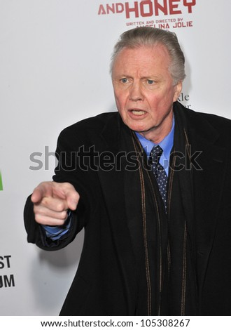 "LOS ANGELES, CA - DECEMBER 8, 2011: Jon Voight (father of Angelina Jolie) at the premiere of ""In The Land of Blood and Honey"" at the ArcLight Theatre, Hollywood. December 8, 2011  Los Angeles, CA - stock photo"