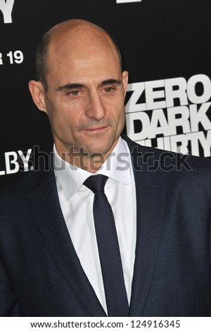 "LOS ANGELES, CA - DECEMBER 10, 2012: Mark Strong at the premiere of his movie ""Zero Dark Thirty"" at the Dolby Theatre, Hollywood."
