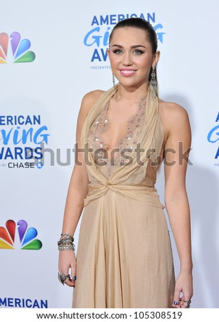 LOS ANGELES, CA - DECEMBER 9, 2011: Miley Cyrus at the American Giving Awards at the Dorothy Chandler Pavilion in Los Angeles. December 9, 2011  Los Angeles, CA