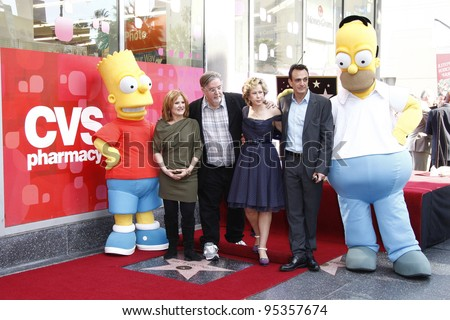 LOS ANGELES, CA - FEB 14: Bart Simpson; Nancy Cartwright; Matt Groening; Yeardley Smith; Hank Azaria; Homer Simpson at a ceremony on the Walk Of Fame on February 14, 2012 in Los Angeles, California