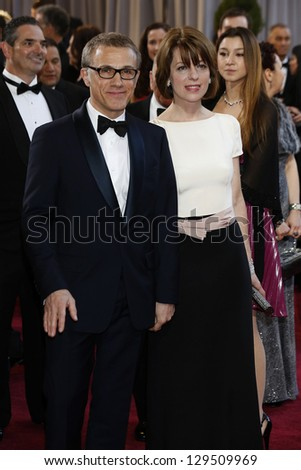 LOS ANGELES, CA - FEB 24: Christoph Waltz, Judith Holste  at the 85th Annual Academy Awards on February 24, 2013 in Los Angeles, California - stock photo