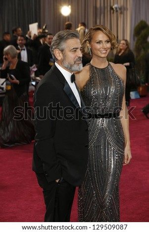 LOS ANGELES, CA - FEB 24: George Clooney, Stacy Keibler at the 85th Annual Academy Awards on February 24, 2013 in Los Angeles, California