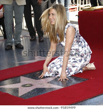LOS ANGELES, CA - FEB 22: Jennifer Aniston at a ceremony where Jennifer Aniston is honored with a star on the Hollywood Walk of Fame on February 22, 2012 in Los Angeles, California