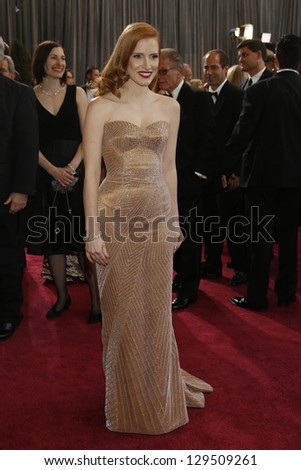 LOS ANGELES, CA - FEB 24: Jessica Chastain at the 85th Annual Academy Awards on February 24, 2013 in Los Angeles, California