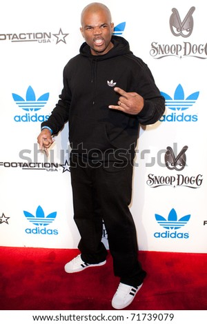"LOS ANGELES, CA. - FEB 19: Musician Darryl ""D.M.C."" McDaniels memeber of Run DMC arrives at the NBA All-Star Weekend VIP party co-hosted by Adidas and Snoop Dogg on Feb 19, 2011 in Los Angeles."