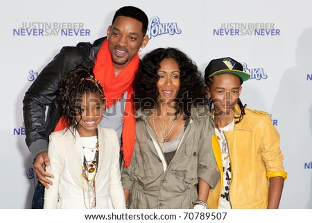 LOS ANGELES, CA - FEB 8: The Smith family arrive at the Paramount Pictures Justin Bieber: Never Say Never premiere at Nokia Theater L.A. Live on February 8, 2011 in Los Angeles, California.