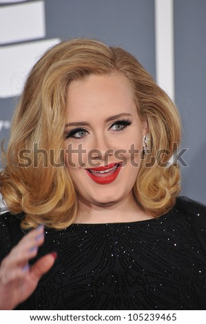 LOS ANGELES, CA - FEBRUARY 12, 2012: Adele at the 54th Annual Grammy Awards at the Staples Centre, Los Angeles. February 12, 2012  Los Angeles, CA