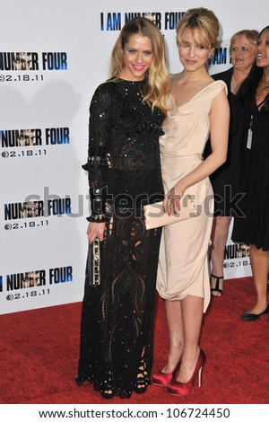 "LOS ANGELES, CA - FEBRUARY 9, 2011: Dianna Agron & Teresa Palmer (left) at the world premiere of ""I Am Number Four"" at the Mann Village Theatre, Westwood. February 9, 2011  Los Angeles, CA"