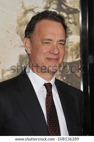 "LOS ANGELES, CA - FEBRUARY 24, 2010: Executive producer Tom Hanks at the premiere of his new HBO miniseries ""The Pacific"" at Grauman's Chinese Theatre, Hollywood."