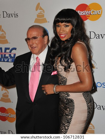 LOS ANGELES, CA - FEBRUARY 12, 2011: Jennifer Hudson & Clive Davis at the 2011 Clive Davis pre-Grammy party at the Beverly Hilton Hotel. February 12, 2011  Beverly Hills, CA
