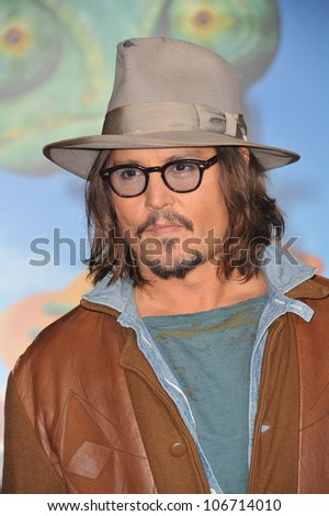"LOS ANGELES, CA - FEBRUARY 14, 2011: Johnny Depp at the Los Angeles premiere of his new animated movie ""Rango"" at the Regency Village Theatre, Westwood. February 14, 2011  Los Angeles, CA"