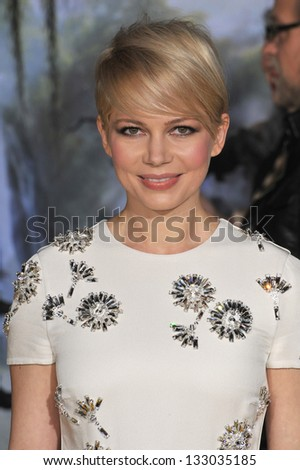 "LOS ANGELES, CA - FEBRUARY 13, 2013: Michelle Williams at the world premiere of her movie ""Oz: The Great and Powerful"" at the El Capitan Theatre, Hollywood."