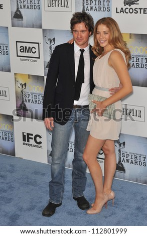 LOS ANGELES, CA - FEBRUARY 21, 2009: Rachelle LeFevre & Jamie Thomas King at the Film Independent Spirit Awards on the beach at Santa Monica