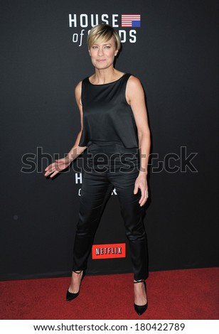 "LOS ANGELES, CA - FEBRUARY 13, 2014: Robin Wright at the season two premiere of her Netflix series ""House of Cards"" at the Directors Guild Theatre."