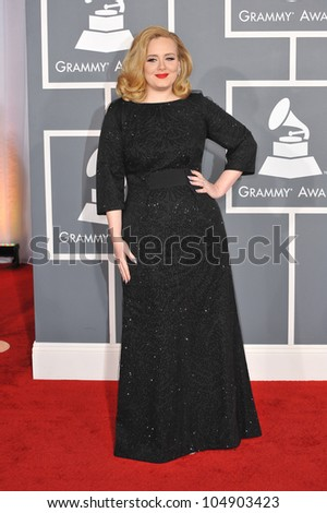 LOS ANGELES, CA - FEBRUARY 12, 2012: Singer Adele at the 54th Annual Grammy Awards at the Staples Center, Los Angeles on February 12, 2012  Los Angeles, CA