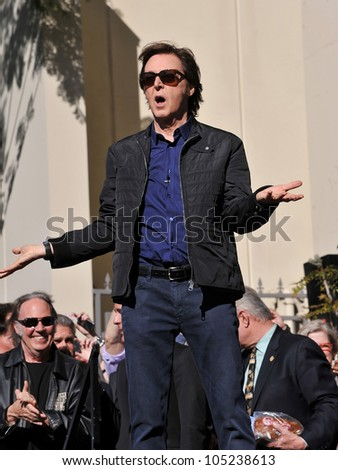 LOS ANGELES, CA - FEBRUARY 9, 2012: Sir Paul McCartney on Vine Street, outside Capitol Records, where he was honored with a star on the Hollywood Walk of Fame. February 9, 2012  Los Angeles, CA