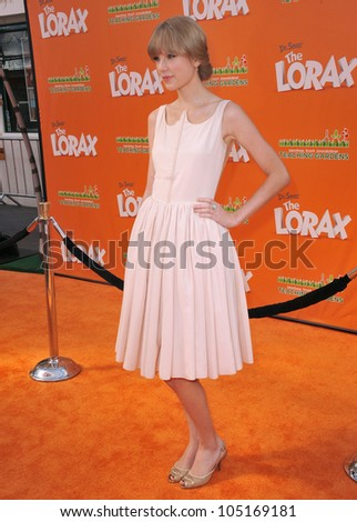 """LOS ANGELES, CA - FEBRUARY 19, 2012: Taylor Swift at the world premiere of her new animated movie """"Dr. Suess' The Lorax"""" at Universal Studios, Hollywood. February 19, 2012  Los Angeles, CA"""