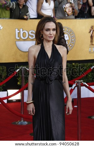 LOS ANGELES, CA - JAN 29: Angelina Jolie at the 18th annual Screen Actor Guild Awards at theShrine Auditorium on January 29, 2012 in Los Angeles, California