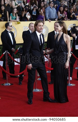 LOS ANGELES, CA - JAN 29: Angelina Jolie; Brad Pitt at the 18th annual Screen Actor Guild Awards at the Shrine Auditorium on January 29, 2012 in Los Angeles, California