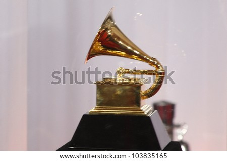 LOS ANGELES, CA - JAN 31: Grammy statue at the 52nd Annual GRAMMY Awards held at the Nokia Theater on January 31, 2010 in Los Angeles, California - stock photo
